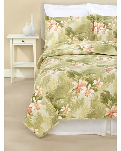 Tommy Bahama Tropical Orchid Quilt Set [Green]
