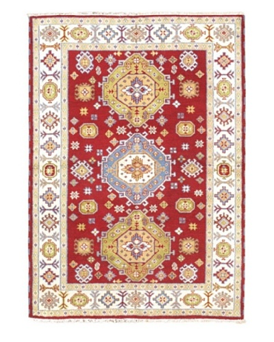 "Hand-Knotted Royal Kazak Wool Rug, Cream/Red, 5' 7"" x 7' 11"""