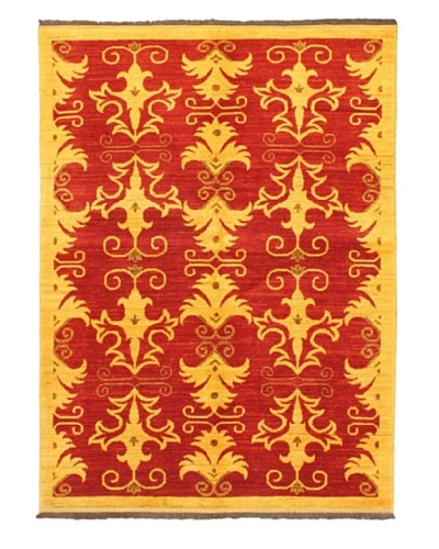 Gabbeh Modern Rug, Light Khaki/Red, 5' x 6' 10