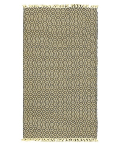Hand Woven Natural Plush Kilim, Cream, 2' x 3' 7 Runner