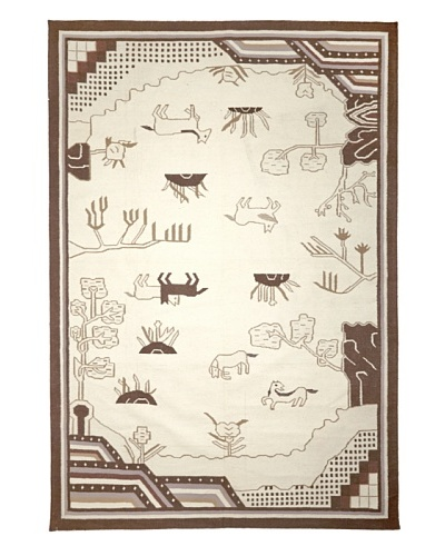 Hand Woven Anatolian Kilim, Cream/Dark Brown, 6' 2 x 9'
