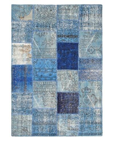"Handmade Ottoman Yama Patchwork Wool Rug, Blue, 5' 6"" x 7' 10"""