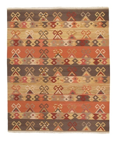 Kashkoli Kilim Transitional Kilim, Copper/Dark Brown/Light Brown, 8' 4 x 10' 2