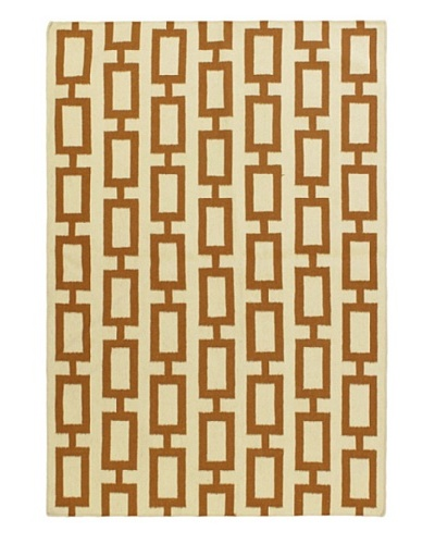 Hand Woven Natural Wool Flatweave Kilim, Cream, 5' 3 x 7' 7