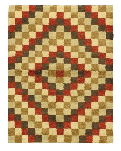 Hand-Knotted Marrakech Rug, Beige/Brown/Green/Orange, 4' 7 x 6' 3