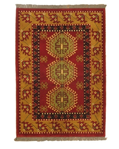 "Hand-Knotted Royal Kazak Rug, Light Brown/Light Burgundy, 4' 7"" x 6' 7"""