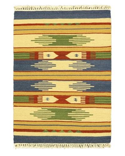 Hand Woven Kashkoli Wool Kilim, Cream, 2' 1 x 3' 1