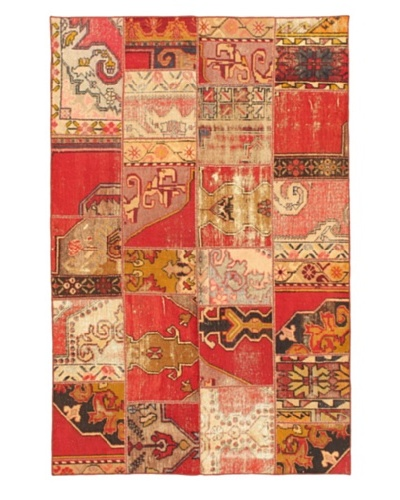 Handmade Ottoman Yama Patchwork Wool Rug, Pink, 4' 11 x 7' 6