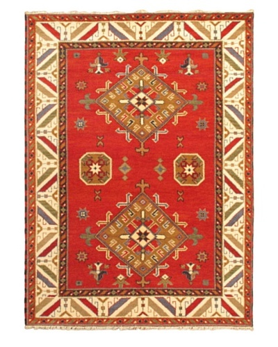 Hand-Knotted Royal Kazak Rug, Beige/Red, 5' 9 x 8' 0