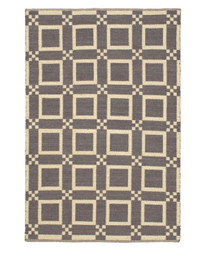 Handwoven Natural Plush Modern Wool Kilim, Cream/Dark Grey, 5' 1 x 7' 7