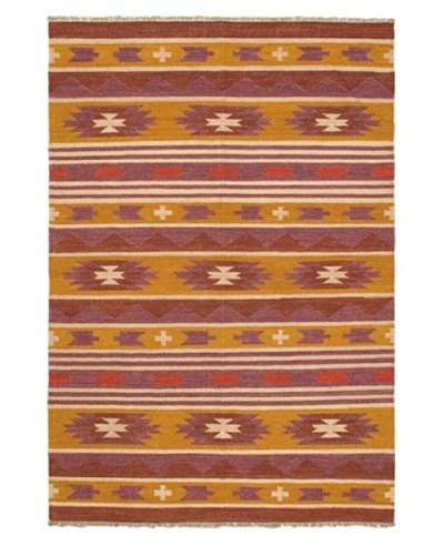 Hand Woven Kashkoli Wool Kilim, Brown/Dark Gold, 4' 7 x 6' 7