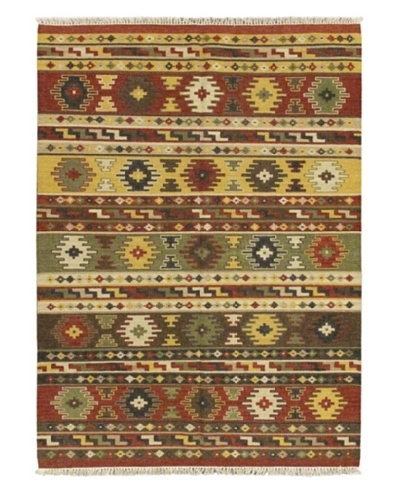 "Hand Woven Izmir Wool Kilim, Dark Red, 5' 7"" x 7' 10"""