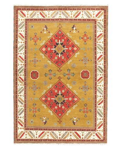 Hand-Knotted Royal Kazak Rug, Yellow, 6' 9 x 10'