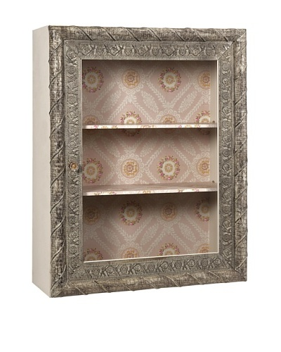 Ella Elaine Wall Shelf with Glass Door, Pink/Taupe