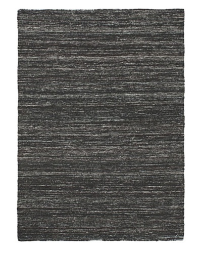 Hand Woven Silky Allure Modern Flatweave Kilim, Black, 4' 8 x 6' 5