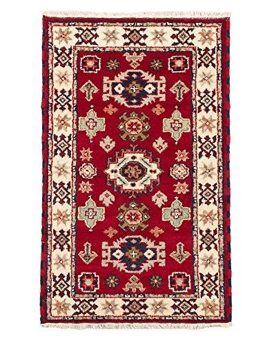 Hand-Knotted Royal Kazak Wool Rug, Dark Red, 3'1X5'0