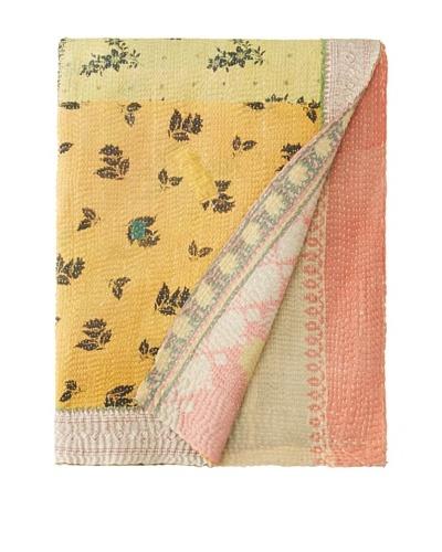 """Large Vintage Karishma Kantha Throw, Multi, 60"""" x 90"""""""
