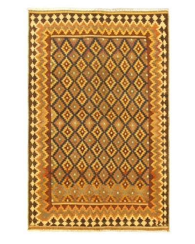 Hand Woven Kashkoli Wool Kilim, Cream, 5' 5 x 8' 6
