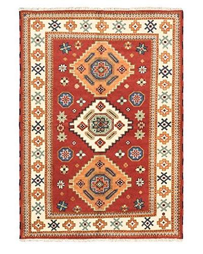 Hand-Knotted Royal Kazak Wool Rug, Dark Copper, 5' 7 x 7' 10