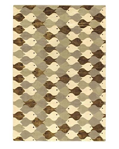 Handmade Nemo Rug, Gray, 5' x 8'