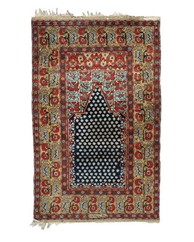 """Semi Antique Persian Rug, Red/Cream/Blue, 7' 4"""" x 4' 3"""""""