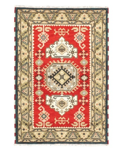 "Hand-Knotted Royal Kazak Wool Rug, Khaki/Light Red, 4' 1"" x 6'"