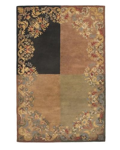 Handmade Athina Modern Wool Rug, Beige/Black/Khaki/Red, 5' x 8'