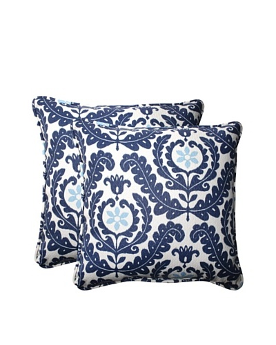 Set of 2 Outdoor Meridian Pool Square Corded Toss Pillows [Navy/Aqua/Cream]