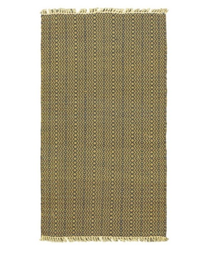 "Hand Woven Natural Plush Kilim, Navy, 2' x 3' 7"" Runner"
