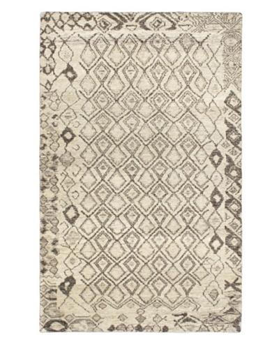 Hand-Knotted Mystique Gabbeh Modern Rug, Cream, 4' 1 x 7' 1