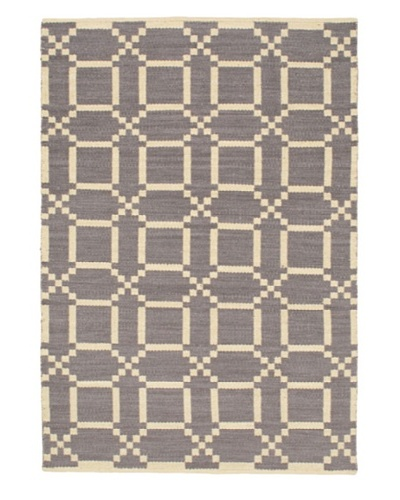 Hand Woven Natural Plush Kilim, Cream/Grey, 5' 1 x 7' 7