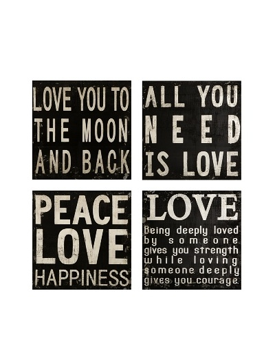 Set of 4 Collier Black and White Wall Quotes