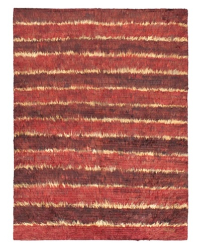 "Rabat Long Hair Modern Rug, Dark Red, 4' 10"" x 6' 9"""