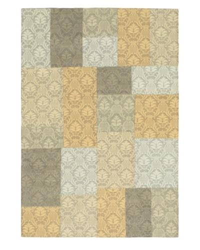 "Hand Woven Collage Dhurrie Rug, Light Gold/Light Gray, 4' 1"" x 6'"