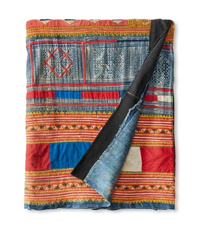 Repurposed Fabric Hmong Blanket, Multi, Full/Queen