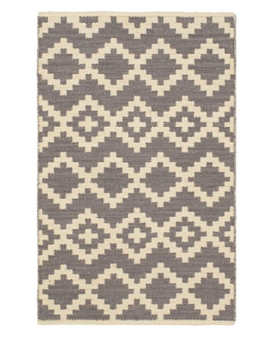 Hand Woven Natural Plush Wool Flatweave Kilim, Cream/Dark Grey, 3' 7 x 5' 5