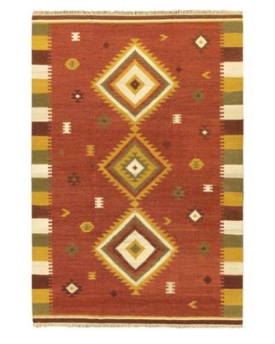 Hand Woven Kashkoli Wool Kilim, Dark Red, 6' 7 x 9' 10