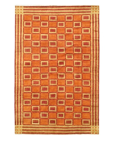 Gabbeh Modern Rug, Copper/Light Khaki, 6' 8 x 10' 3