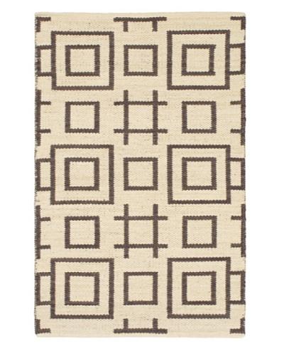 Hand Woven Natural Plush Kilim, Cream, 3' 7 x 5' 5