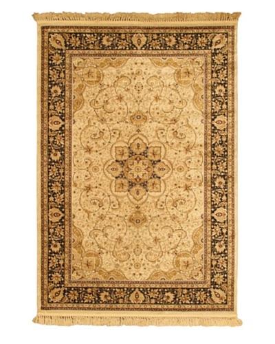 Qum Kashmir Traditional Rug, Beige, 5' 2 x 7' 7
