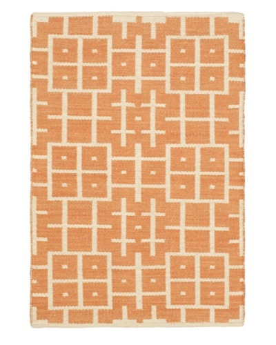 Hand Woven Natural Plush Wool Flatweave Kilim, Copper/Cream, 3' 7 x 5' 5