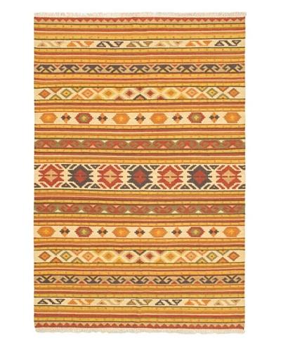 "Hand Woven Kashkoli Wool Kilim, Cream/Light Orange, 5' 2"" x 7' 10"""