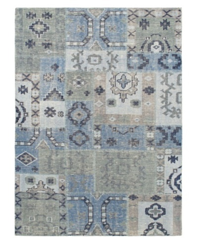 Hand-Knotted Ushak Patch Wool Rug, Light Blue, 4' 7 x 6' 7