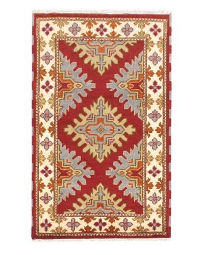 Hand-Knotted Royal Kazak Wool Rug, Cream, Dark Red, 3' x 5'