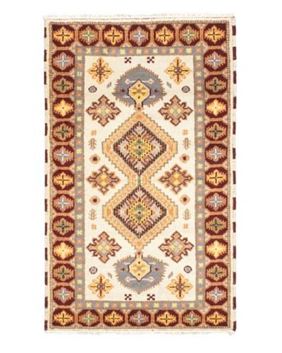 Hand-Knotted Royal Kazak Wool Rug, Cream, 3' 2 x 5' 1