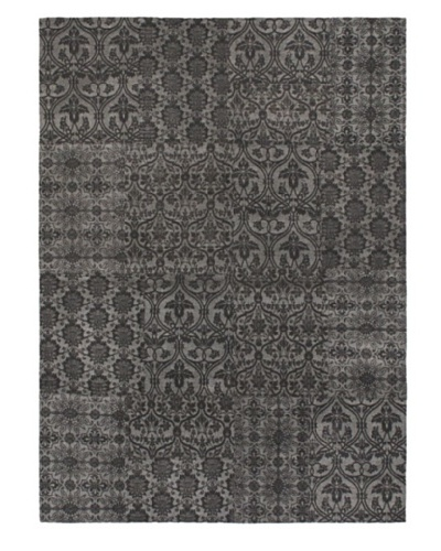 Collage Transitional Dhurrie, Black/Light Grey, 4' 8 x 6' 7