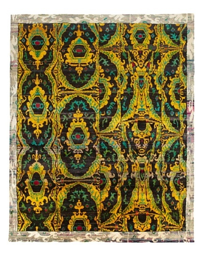 Silk Hand-Knotted Ikat Rug [Gold/Brown Multi]