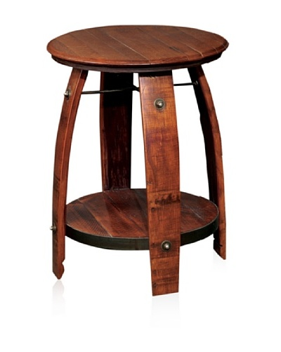 2 Day Designs Barrel Side Table with Shelf
