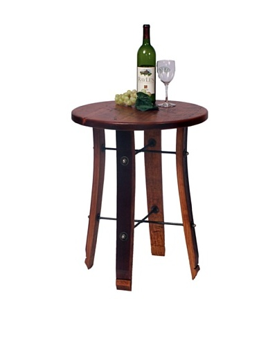 2 Day Designs Round Stave End Table, Caramel