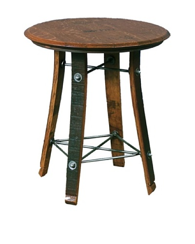 "2 Day Designs Barrel Top Side Table, Caramel, 24"""